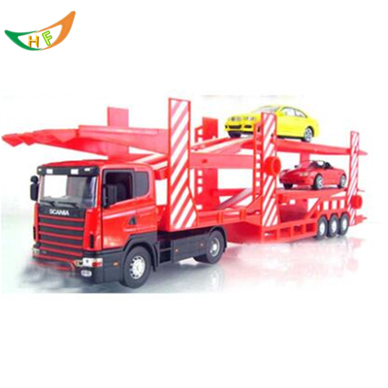 Large auto double carrier contains 2 alloy small car child toy model Christmas gift