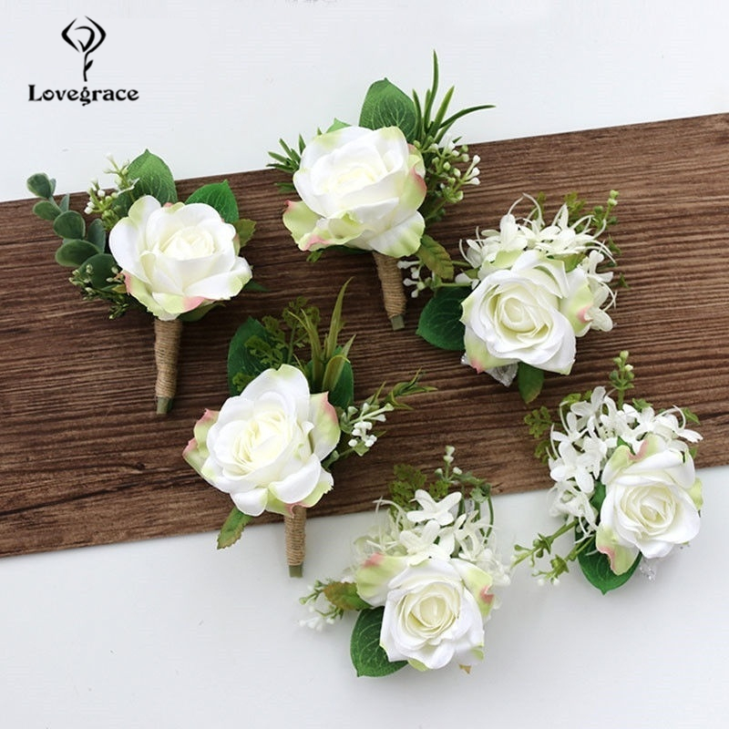 Lovegrace Wedding Men Groom Corsages And Boutonnieres White Rose Silk Vintage Brooch Party Bridal Prom Decoration Accessories