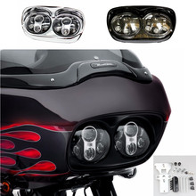 Dual Black /Chrome 6000K LED Daymaker Projector Headlight Bulb Assembly : Harley Road Glide Led Headlight