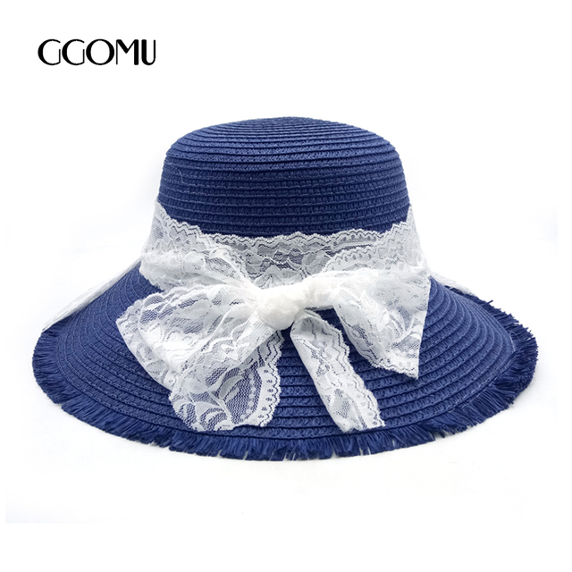 249620b2b29 dropshipping Fashion Summer Women s Beach Sun Hat Wide Brim Foldable Straw  hat Lace Beach hat For
