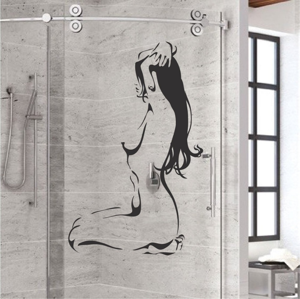Nude Bathroom Wall Glass Decal Sexy Naked Woman Girl Vinyl Wall Stickers Bathroom Decoration Home Decor Bedroom Decals G476