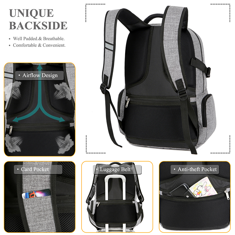 BRINCH 17.3 Inch Shockproof Laptop Backpack with USB Port Roomy Lightweight  Water Resistant Business Travel Bag School Bag -in Backpacks from Luggage    Bags ... eec286dc7dcea