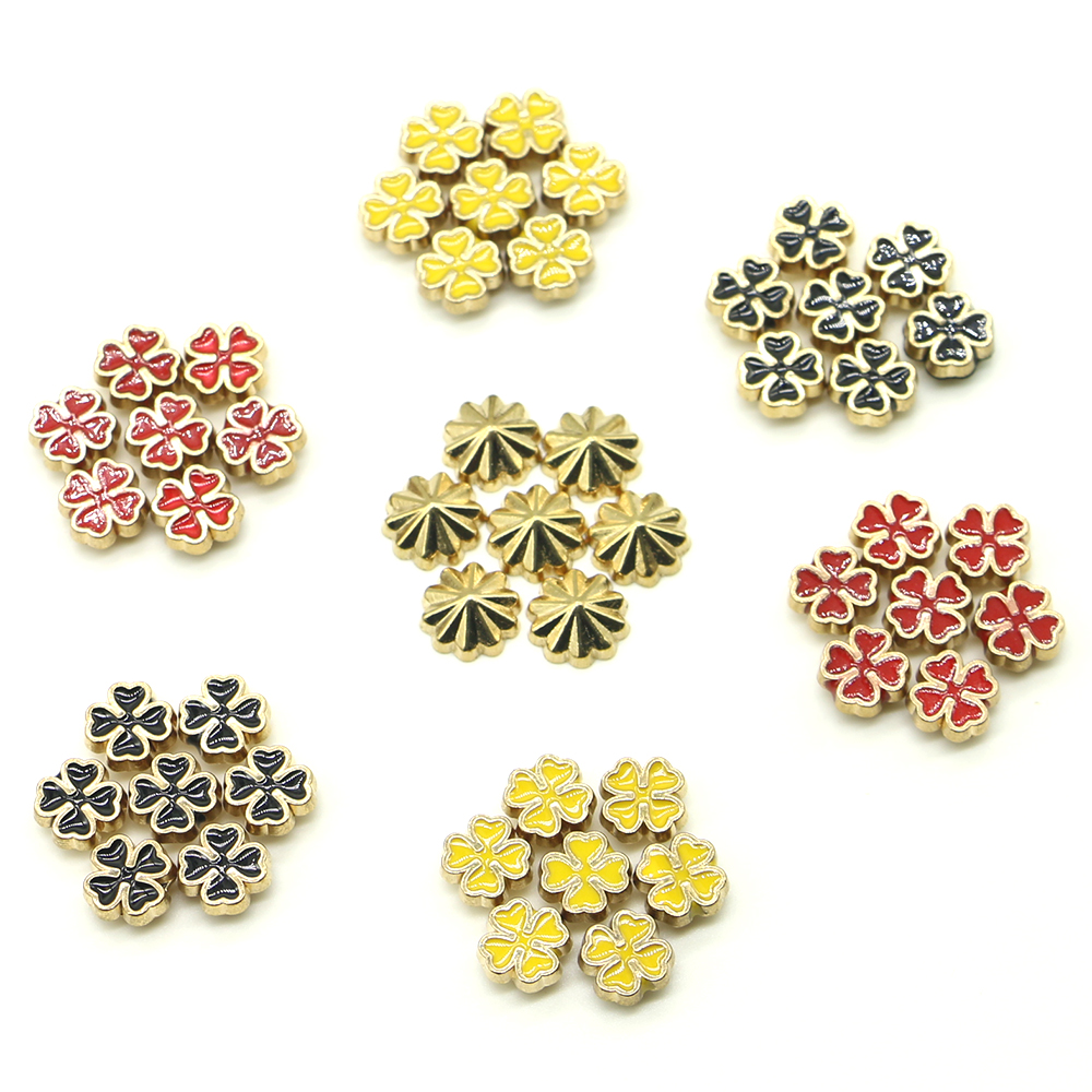 New 50 Sets/pack 8.5cm*4cm diy gold stud and spikes studs for clothing copper 3 color clover Clover rivets Free shipping H-03