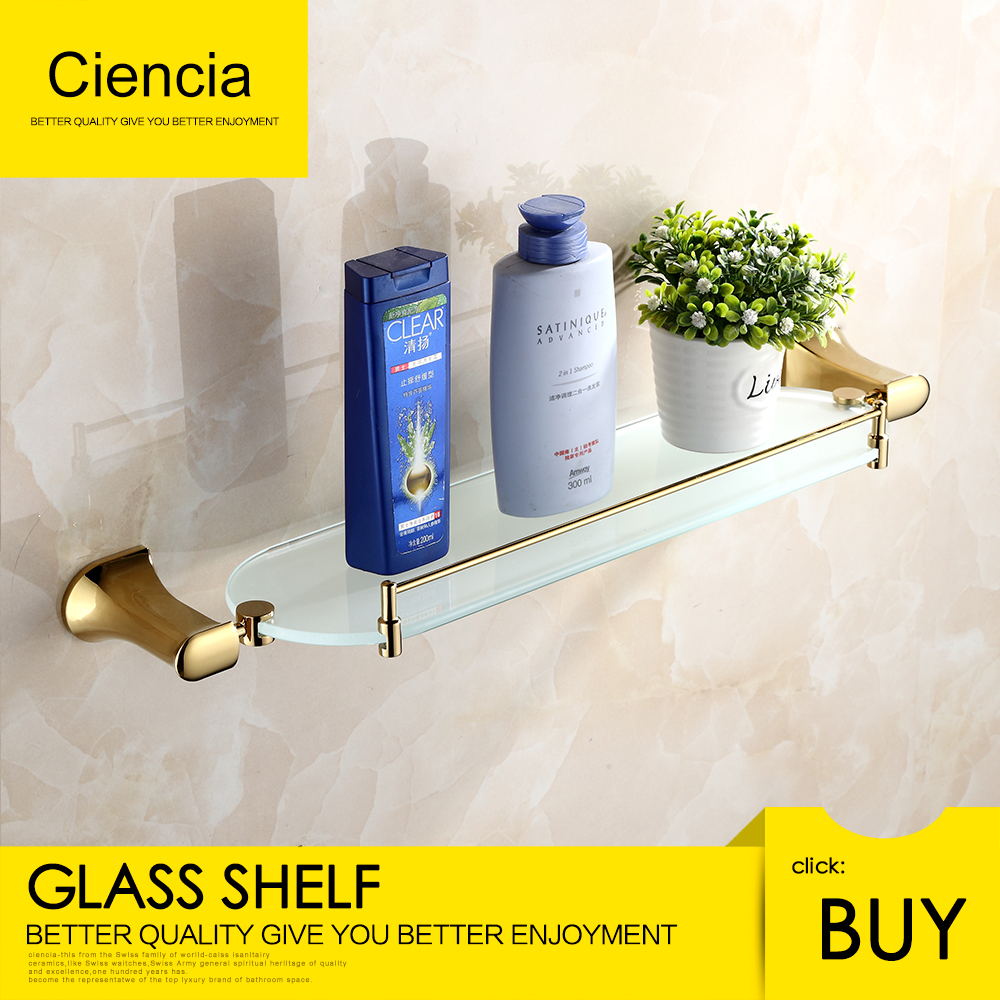 цена на Free shipping Brass Golden steel wall mounted single grass shelf Towel rack bathroom accessories