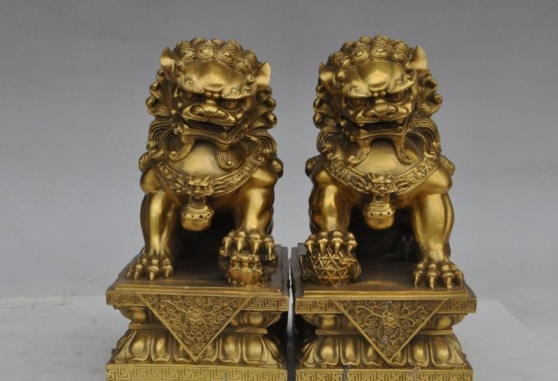 9china chinese fengshui bronze copper lotus foo dog lion beast ball statue pair9china chinese fengshui bronze copper lotus foo dog lion beast ball statue pair