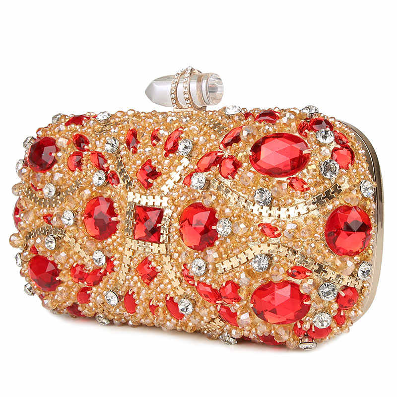 e250462942 100% Handmade Socialite Evening Bags Luxury Diamond Ladies Clutch Bag Black  Red Silver Women Purse special Party Clutch