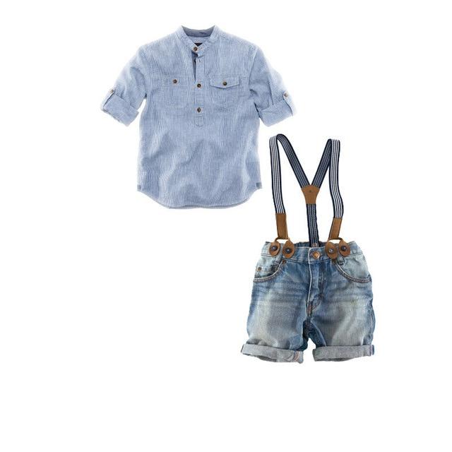 Baby Set Boys Clothes Cotton Plaid Shirt Short Suspender Jeans Pant 2pcs Spring Summer Children Sets