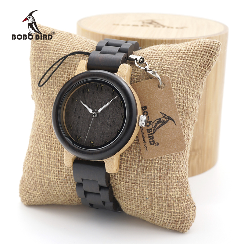 BOBO BIRD Couple Women Bamboo Wooden Wristwatch Mem Round Vintage Dial With Wood Bands Lover's Quartz Watch Ladies In Wood Box