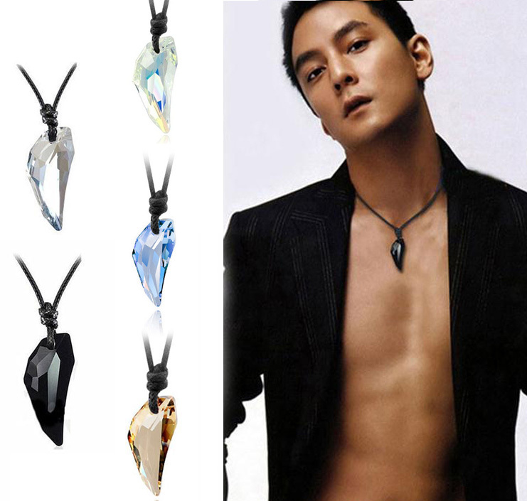 Hot sailing Wolf Tooth Austria Big Crystal with SWA Element Wolf Tooth Pendant Necklace for men