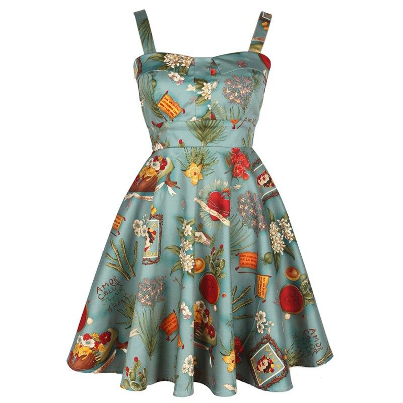 Retro ropa de Frida Kahlo Audrey Hepburn Cuello Halter Vestido Del Oscilación Re