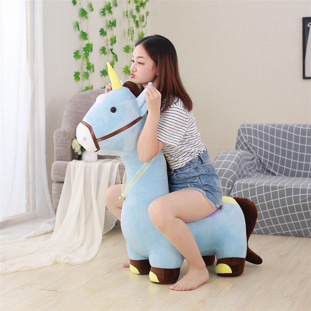 Fancytrader Soft Anime Einhorn Plüsch Sofa Spielzeug Große 120 cm Gestopft Cartoon fahrt auf Pferd Puppe Stuhl Könnte Laden 50 kg auf der Rückseite - 4