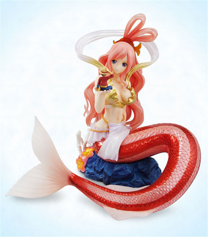 Japan Anime ONE PIECE  Beautiful Mermaid Princess Ariel Figure Holding Monkey D Luffy in Hand 20CM PVC Action Model Toy BDFG6139