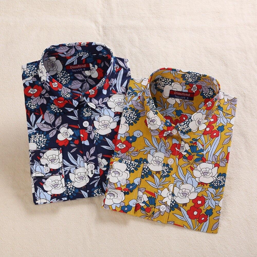 Colored leaves Printed   Blouse     Shirt   Women Long Sleeve Cotton Work Wear   Blouses   Black Print Blusa Feminina Navy Top 2018 Clothing