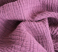 Natural 100 Cotton Double Crinkle Fabric 120 Cm Width 175 Gsm Reactive Dyeing For Clothes Baby