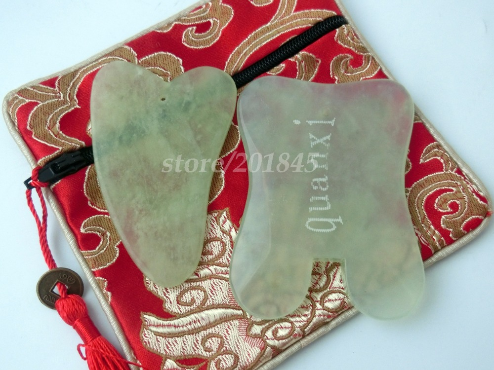 все цены на 2Pcs Body Gua Sha Tools Scraping Plates Health Care Massage Pad Neck Back Head Foot Massager Natural Resin Face Body Relax Tool онлайн