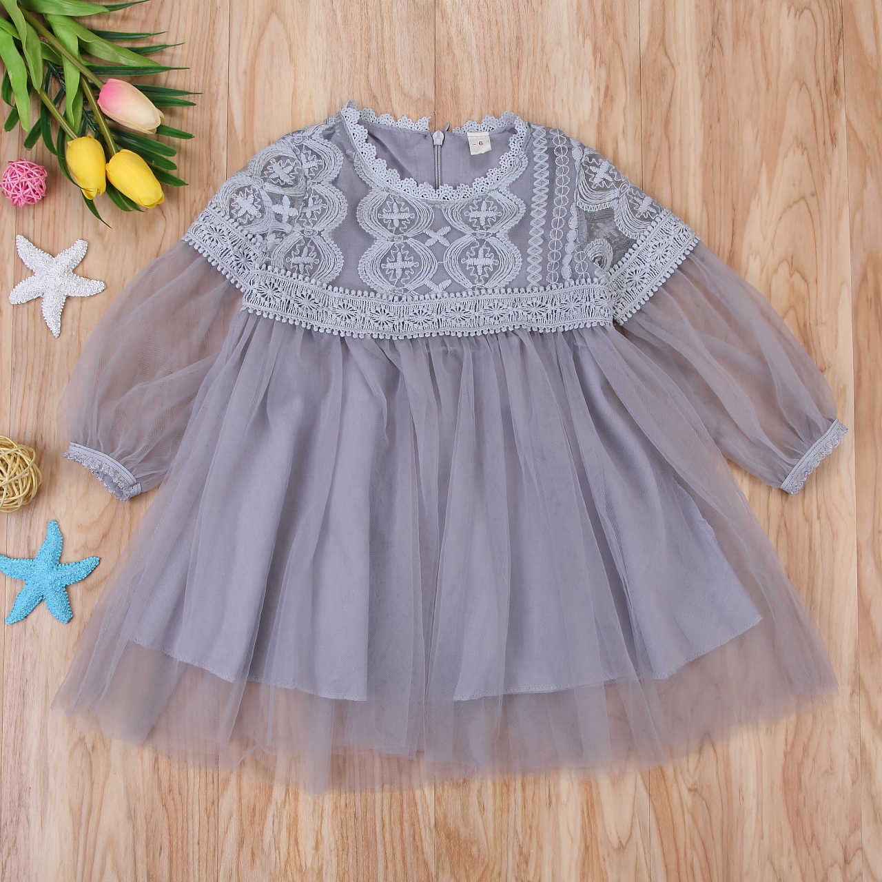 ff58b870c2d ... Mesh Tutu Dress Gray/Pink Baby Girls Long Sleeve Kids Hot Tulle Party  Wedding Dress ...