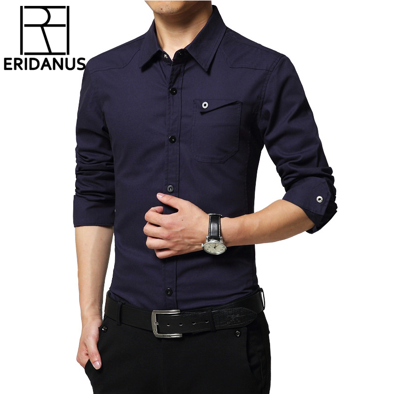2017 New Arrival Military uniform Style Men Shirts Oxford Cotton long-sleeved Slim Fit P ...