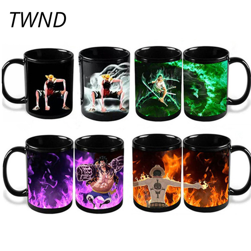 Anime One Pieces Coffee Mugs Color Changing Tea Cups Funny Printed Cups en Mugs Magic Mark Ceramic Drinkware Luffy Zoro Ace