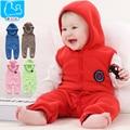 Baby clothes sleeveless hooded romper spring autumn fleece newborn boy girls clothing infant clothes newborn sleepwear