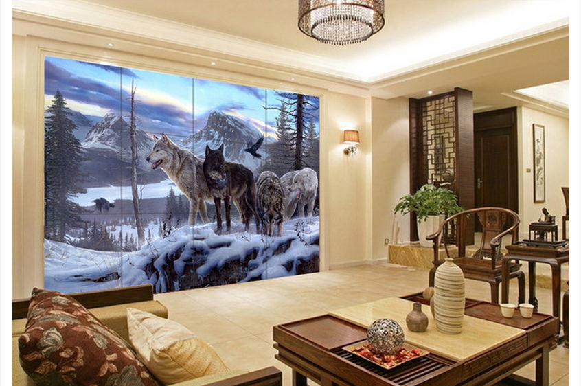 wolf wallpaper mural  Free shipping 3D custom wall paper 2015 new Snow Wolf TV setting ...