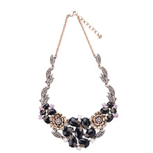 2016 Black Flower Statement Choker Necklace Bib Necklace Statement Jewelry Factory supply free shipping