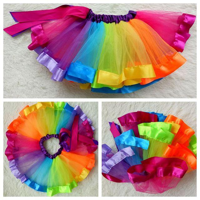 YNB Rainbow skirt children's summer clothing fashion girl dance clothes performance tutu skirts 2017 baby girl ball gown skirts
