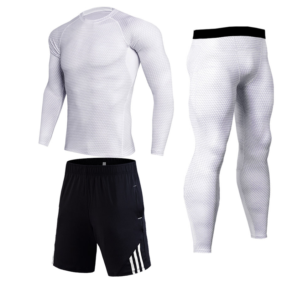 Men's Fitness Set Long Sleeves T Shirt Quick Drying Perspiration Fitness  MMA Compress Rashguard Jiu Jitsu Tracksuits Clothes