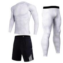 Мужской набор для фитнеса с длинными рукавами футболки Быстросохнущие Perspiration Fitness MMA компр