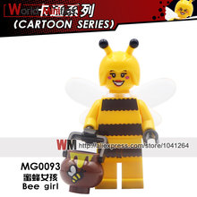 Single Sale MG0093 Bee Girl Pumping Party Cartoon Balloon Car Flower Girl Spogebobs Unicorn Building Blocks Toys(China)