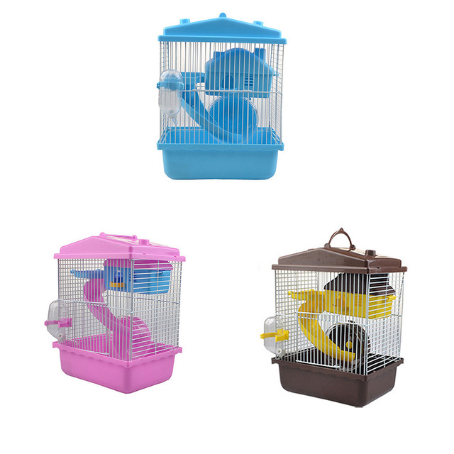 Pet Cage Hamster Pet  Hamster Cottage Transparent Skylight Double Layer  Luxury House Portable Mice Home Habitat Decoration 4