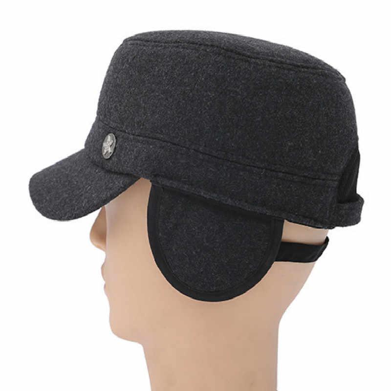 Регулируемая черная серая мужская теплая шерстяная зимняя армейские кепки s винтажная плоская Кепка Gorras Ретро военный Бомбер с ушками