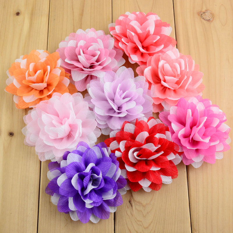 100pcs lot 20Colors Kids Multi layer Glitter Chiffon Flowers 8cm girls Hair Beauty Floral DIY Headbands