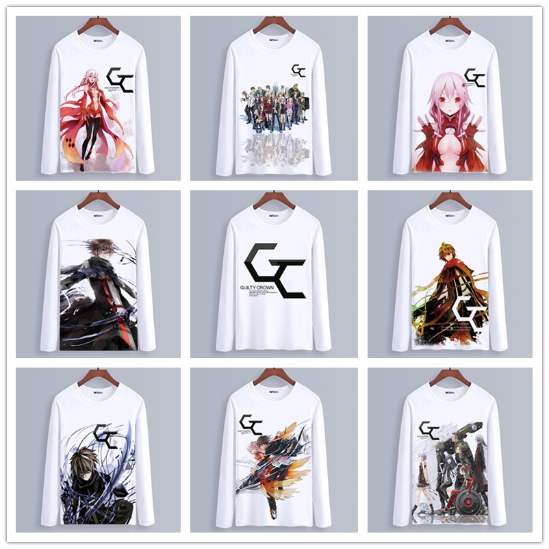 Spring Autumn Long Sleeve Anime T-Shirt <font><b>Guilty</b></font> <font><b>Crown</b></font> Clothing Unisex Adults Child Casual Polyester T Shirt Cosplay <font><b>tshirt</b></font> image