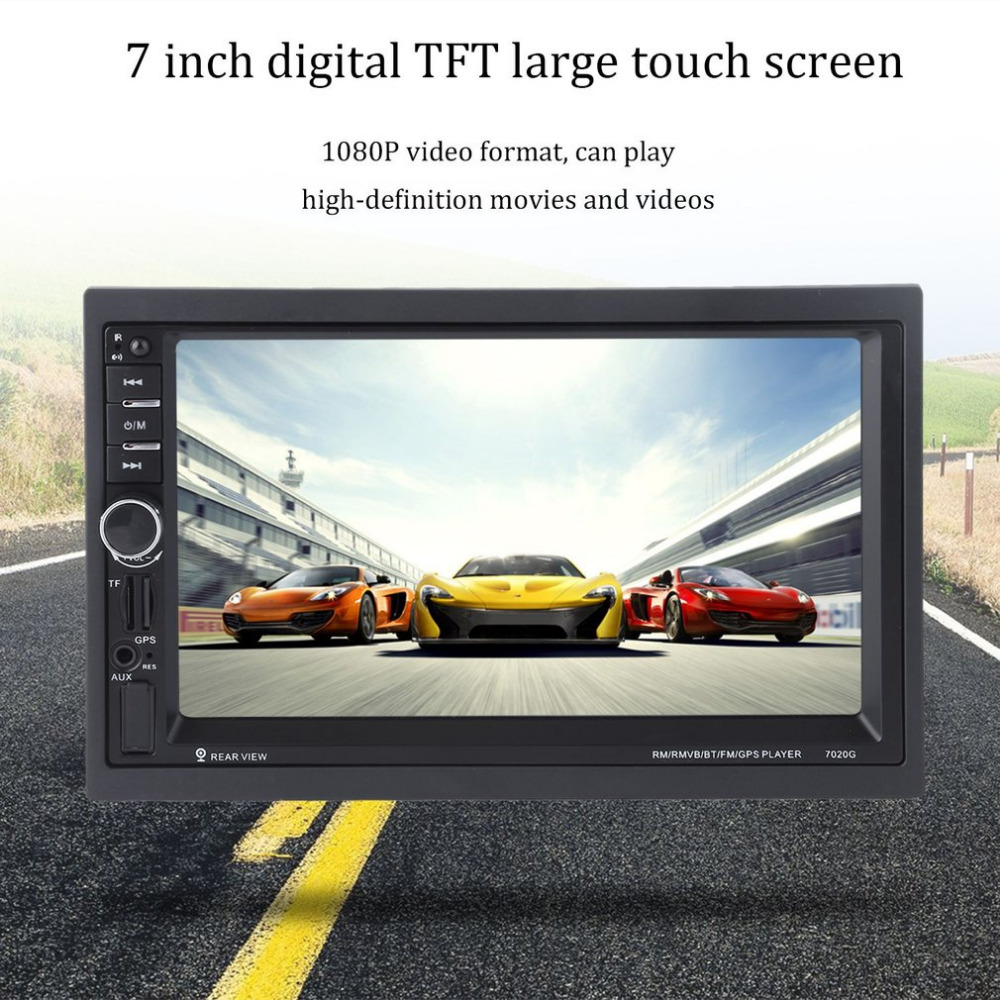 New 7020G 7 inch Touch Screen Car Bluetooth Audio Stereo MP5 Player with Rearview Camera GPS Navigation FM Function ultra thin 7 touch screen lcd wince 6 0 gps navigator w fm internal 4gb america map light blue