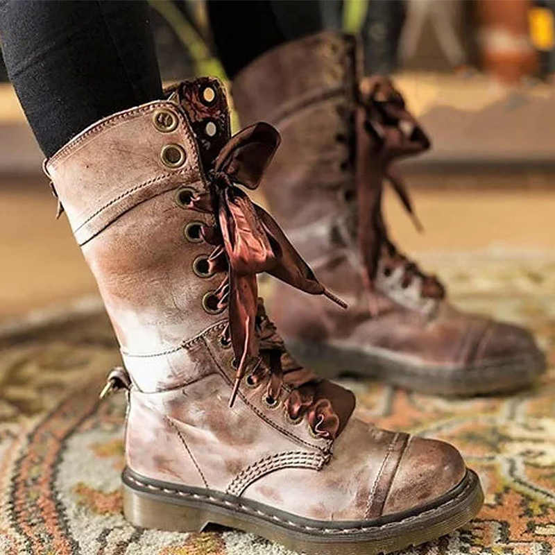 Women's Boots Double Features Mid-Calf Boots Spring/Autumn Flowers Sturdy Sole Punk Rubber boots for women Autumn
