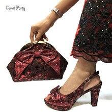 2019 Mais Recentes Sapatos de Vinho e Saco Conjunto de Sapatos Italianos Combinando com Sacos de Alta Qualidade Mulheres de Sapato e Bolsa Para Combinar senhoras de Casamento