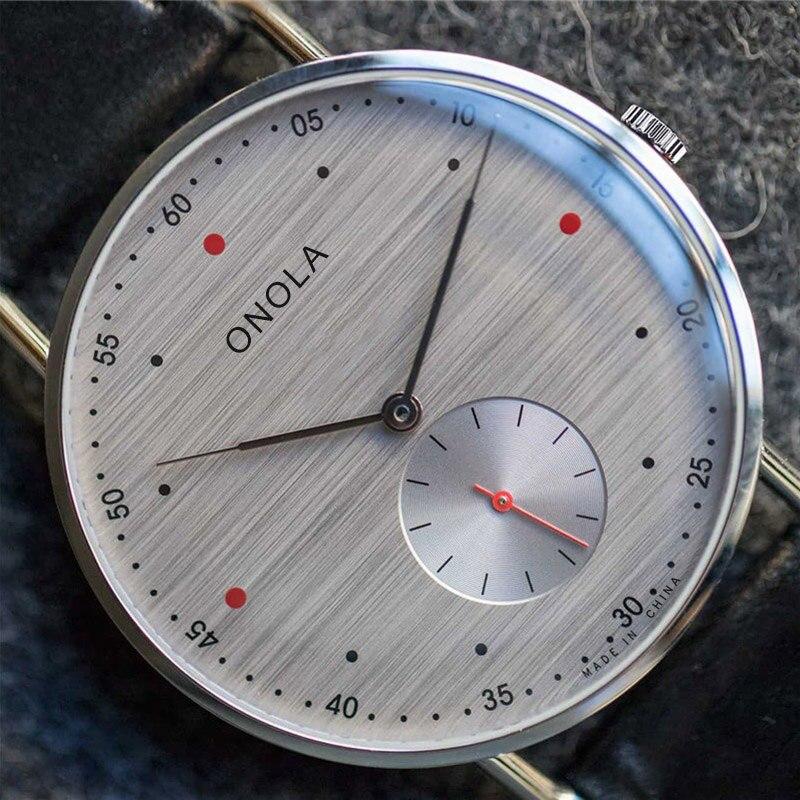Marca de moda onola simples casual couro masculino relógios negócios à prova dwaterproof água alça de náilon relógio de pulso de quartzo masculino relogio masculino