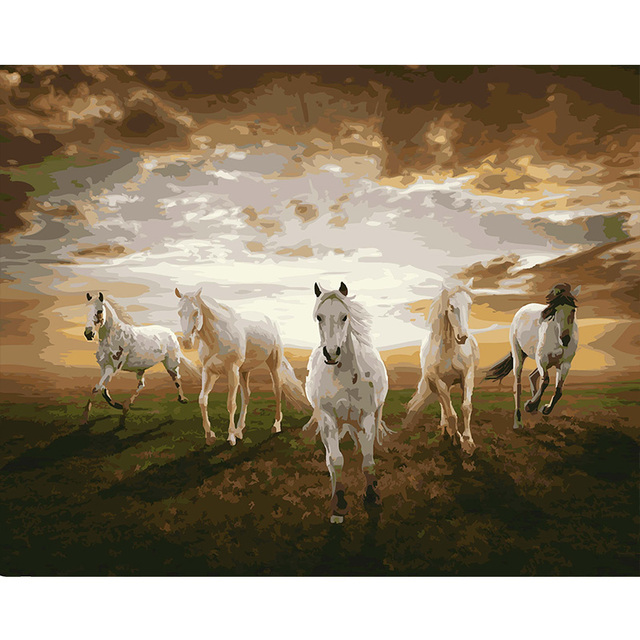 Unframed DIY Oil Painting By Numbers Kits Animal Art Running Horses  Printing Canvas Wall Mural Picture Decoration