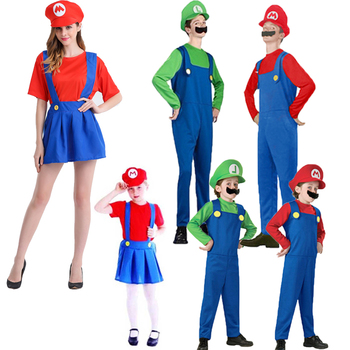 Adults and Kids Super Mario Bros Cosplay Costume Set Children Halloween Party MARIO & LUIGI Costume For Kids Gifts cosplay adults and kids super mario bros cosplay dance costume set children halloween party mario