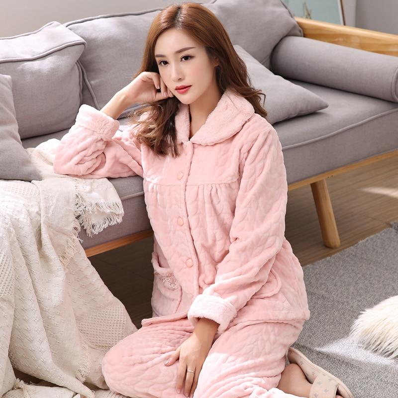 Ladies Brushed Cotton Pyjama Pyjamas Set Long Sleeve