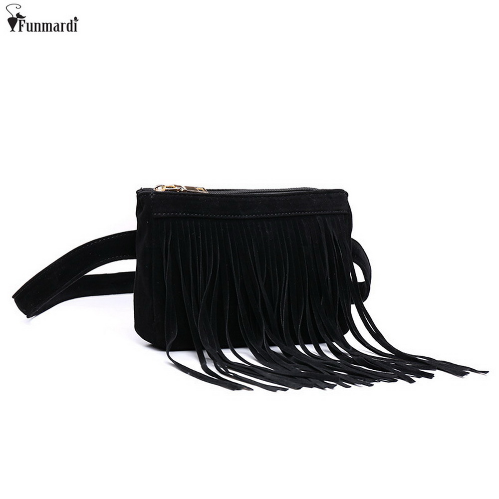 FUNMARDI New Arrival Women Waist Packs Fashion Simple Design Bags Classic Trendy Waist Bags Vintage Tassel Bags WLAM0144