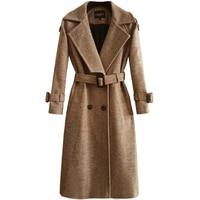 CHAOJUE 2019 Autumn/Winter Women's Camel Herringbone Woolen Coat England Fashion Back Buttons Overcoat Female Gray Wool Coats