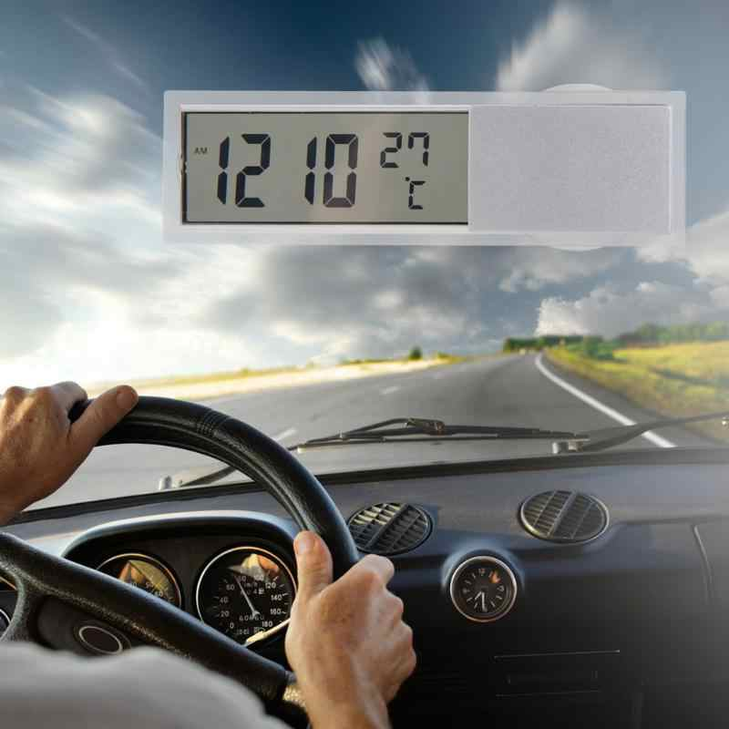 Universal Auto 2 in 1 Digital LCD  Electronic Clock Thermometer Fashion Multi Purpose with Suction Cup Car Watches Car Accessori