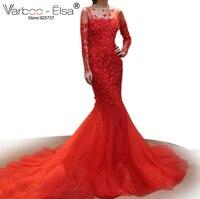 VARBOO_ELSA 2018 Çin Gelin Kıyafeti Kırmızı Dantel Mermaid Gelinlik 3D Aplikler Boncuklu Uzun Kollu Gelinlik vestido de noiva
