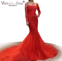 VARBOO ELSA 2017 China Bridal Gown Red Lace Mermaid Wedding Gown 3D Appliques Beaded Long Sleeve