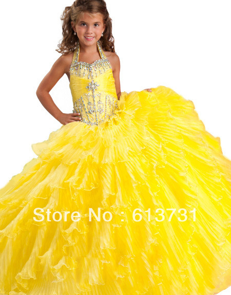 Free Shipping 2013 Halter Yellow Girls Prom Pageant Dresses Long
