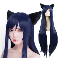 Game LOL Ahri 100cm Long Dark Blue Wig The Nine-Tailed Fox Women Heat Resistant Hair Cosplay Costume Wigs + Ears(China)