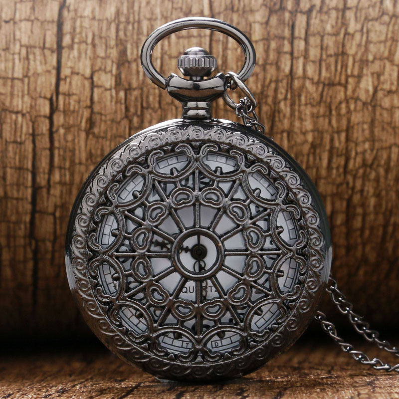 Fashion Black Hollow Quartz Pocket Watch With Necklace Chain Free Shipping Best Gift To Men Women