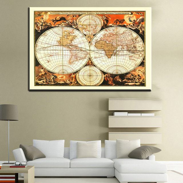 Xll214 2017rushed classic world map english for retro canvas print xll214 2017rushed classic world map english for retro canvas print poster decorative painting core vintage greeting gumiabroncs Image collections