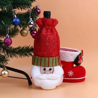 10pcs/lot Christmas Santa Wine Bottle Bag Cover Santa Claus Deer Snowman Bottle Case Xmas Home Dinner Table Decorations